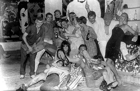 """""""A private party shot of the usual suspects feeling no pain in a club called 'The Custard Beast' (how 1967 is that?) I'm in the centre of the picture with my mouth open, as usual."""""""