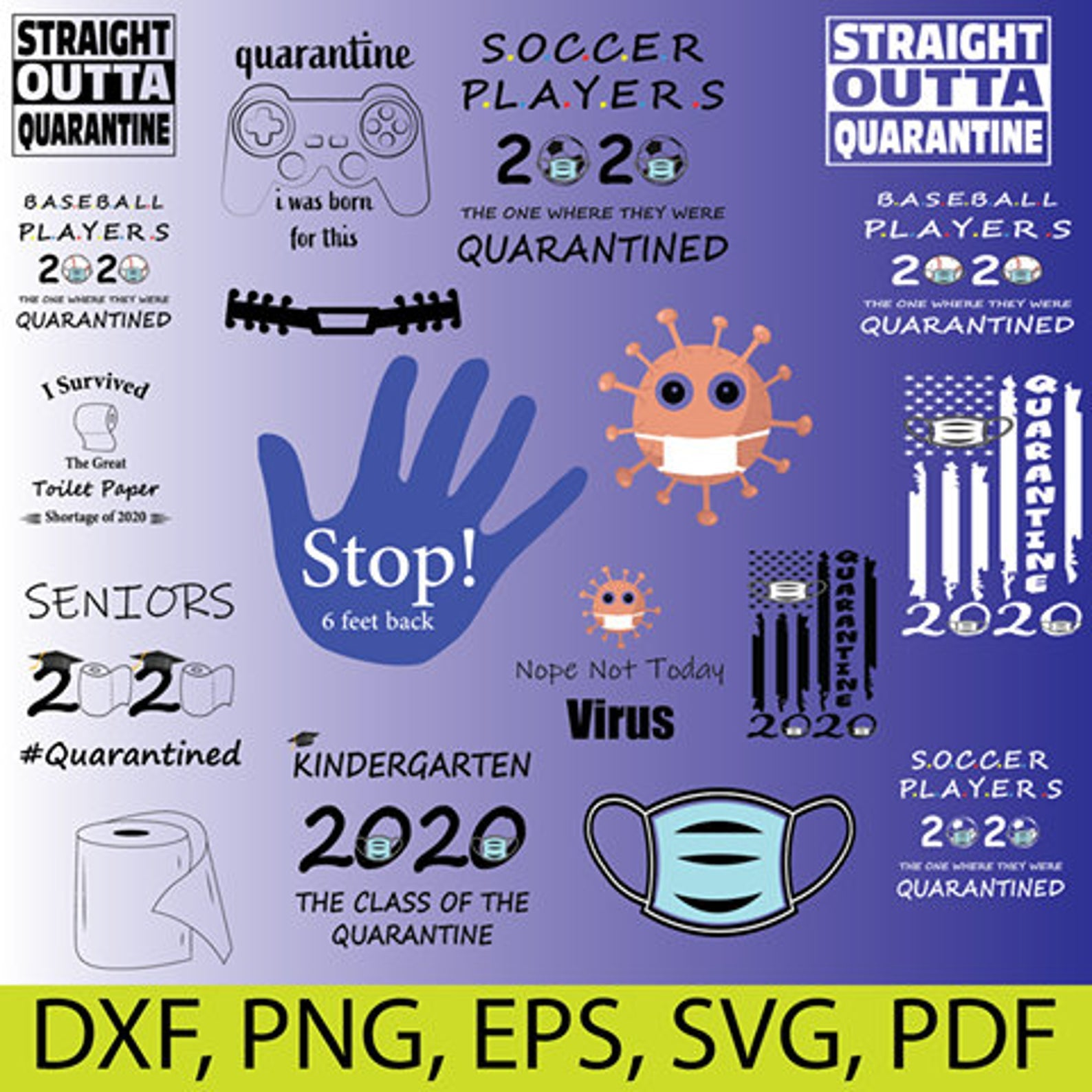 COVID DIGITAL CUT DXF SVG EPS PNG