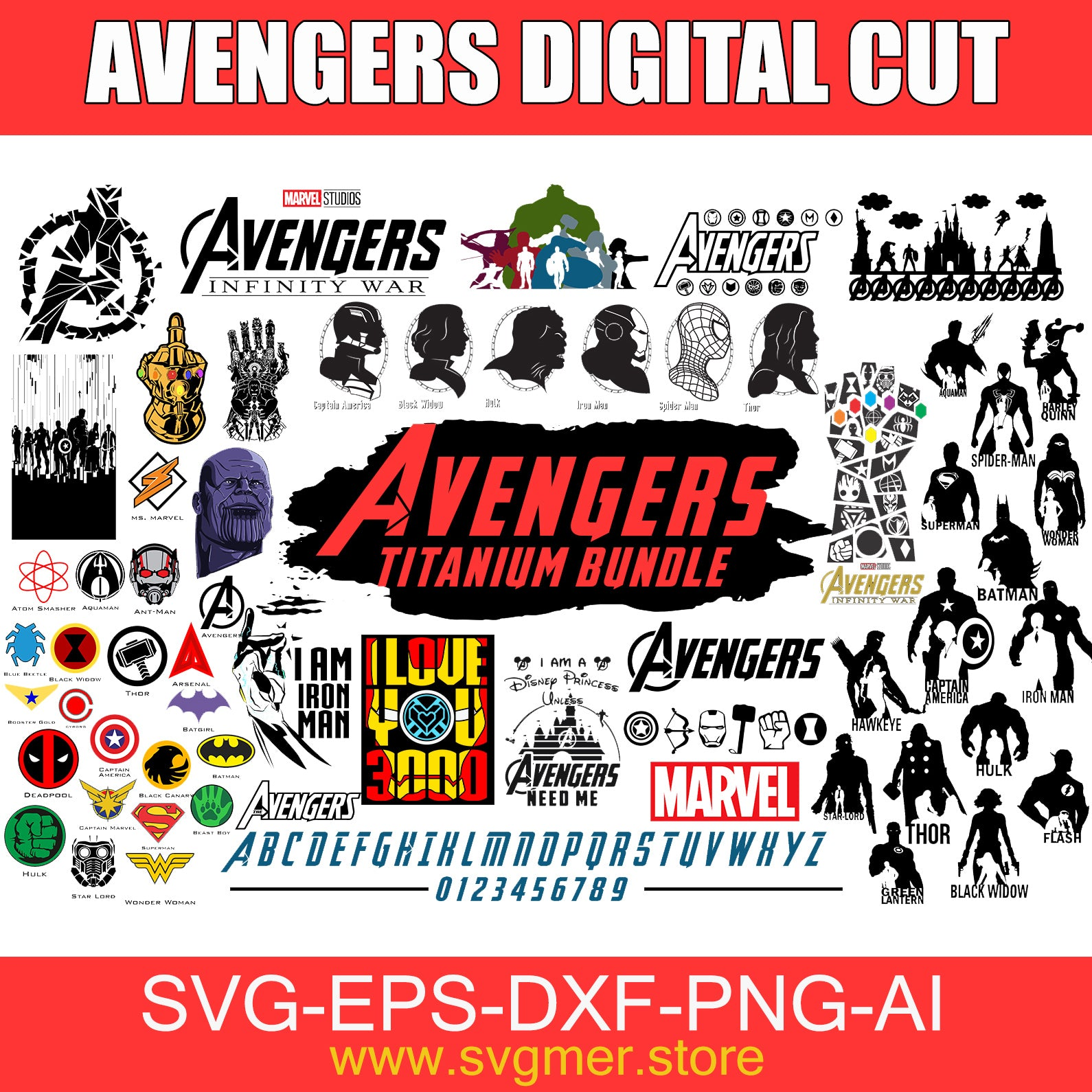 avengers DIGITAL CUT DXF SVG EPS PNG