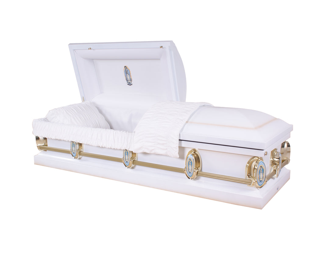 White & Gold - 20 Gauge Casket w/ Gasket - Lone Star Caskets