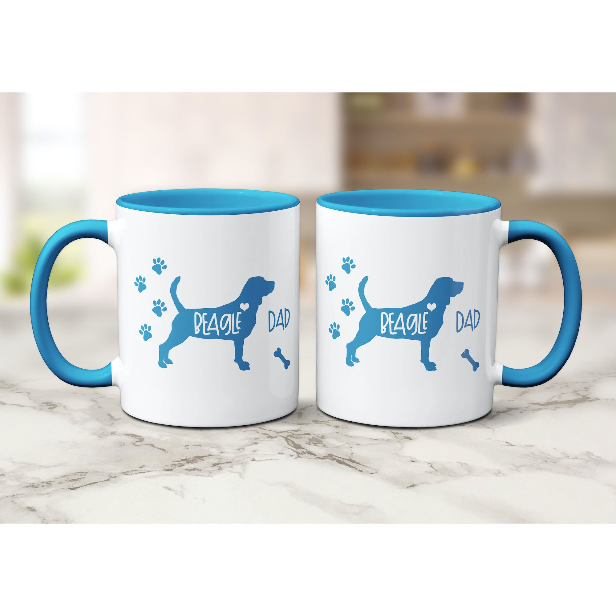 Cute Color Accent Dog Mugs