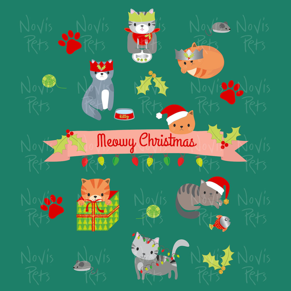 Meowy Christmas Funny Cat Shirt For The Holidays For Women Men, Cat Lover Gift, Crazy Cat Lady, Cute Cat Graphic, Short-Sleeve Unisex Tshirt