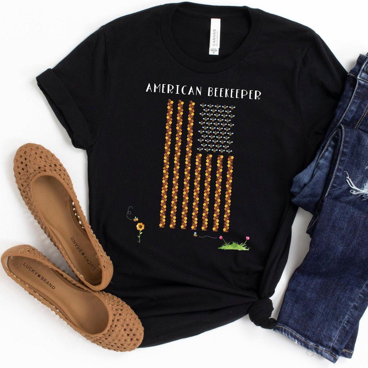 American Flag Honeycomb Beekeeping Beekeeper Shirt, Honey Bee Lover Gift, Cute Bee Graphic Short-Sleeve Unisex T-Shirt
