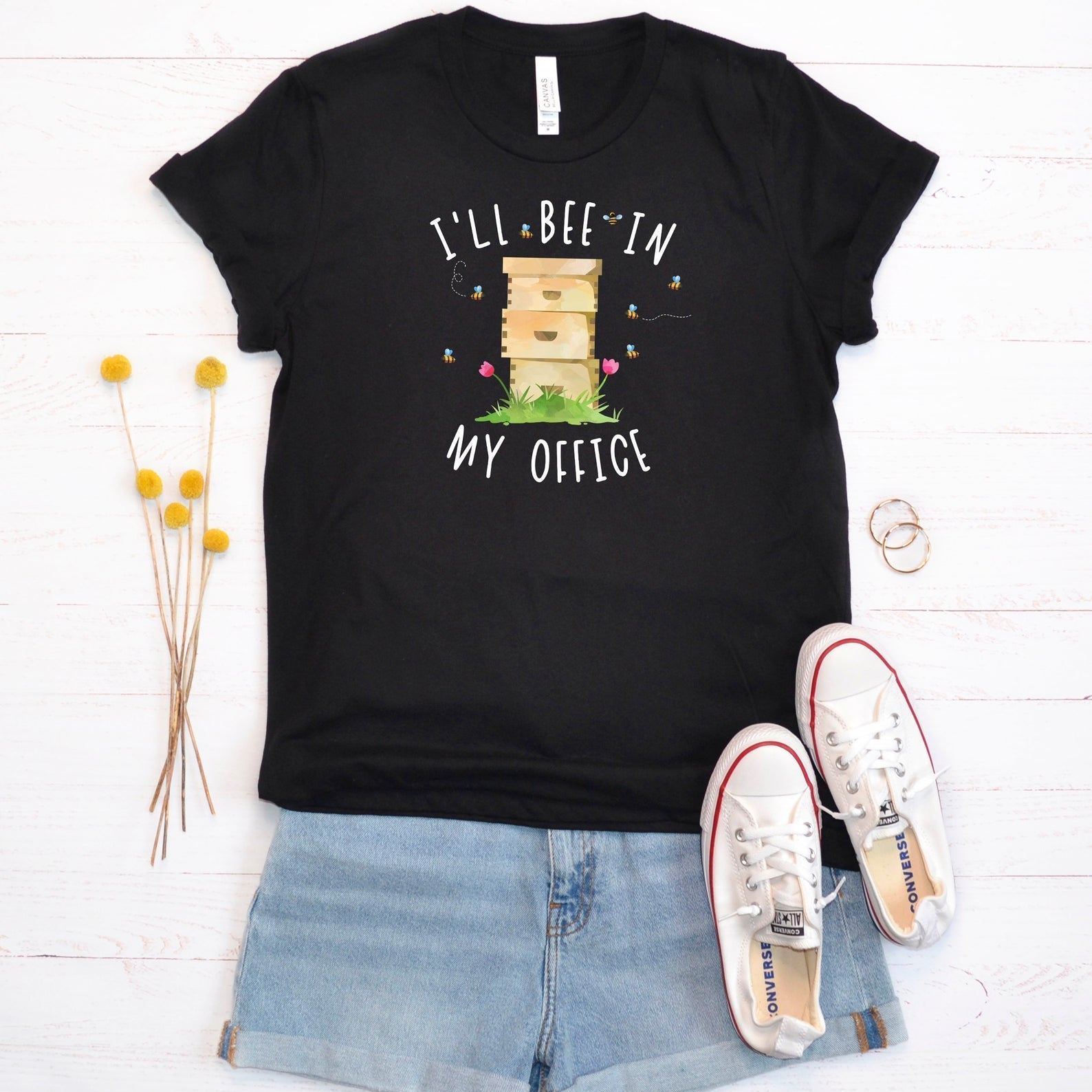 I'll Bee In My Office Beekeeper Shirt, Beekeeping Tee, Honey Bee Lover Gift, Cute Bee Graphic, Bee Short-Sleeve Unisex T-Shirt