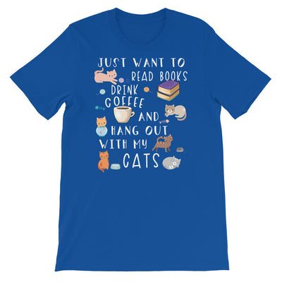 Funny Cat Shirt, Women Men, Cat Lover Gift, Cat T-shirt, Cute Cat Graphic, Book, Bookish, Coffee