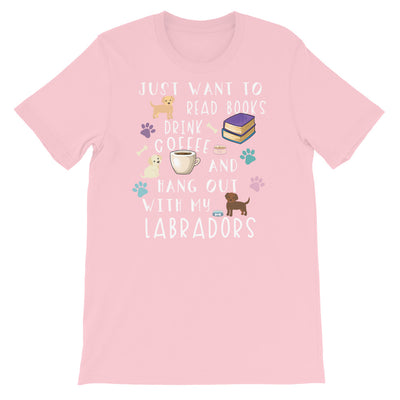Funny Labrador Shirt, Women Men, Labrador Lover Gift, Cute Labrador Graphic, Coffee, Book, Bookish.