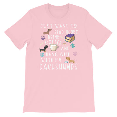 Funny Dachshund Shirt, Women Men, Dachshund Lover Gift, Cute Dachshund Graphic, Coffee, Book Bookish