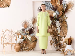 Jasmine Kurung in Lime Green