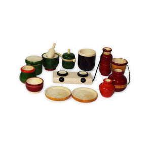 Buy Aatike Colourful Wooden Cooking Set Channapatna Toy - Concept - GiftWaley.com