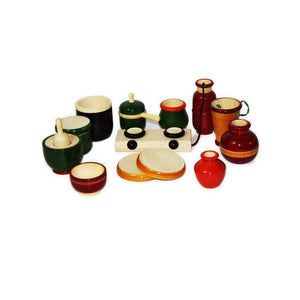 Buy Aatike Colourful Wooden Cooking Set Channapatna Toy - Game - GiftWaley.com