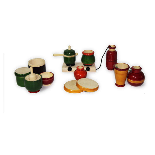 Buy Aatike Colourful Wooden Cooking Set Channapatna Toy Online on GiftWaley.com