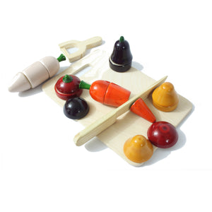 Buy Aatike Wooden Vegetables & Cutting board Channapatna Toy Online on GifTWaley.com