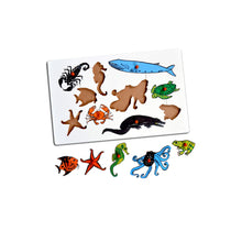 Load image into Gallery viewer, Kidken Montessori Insert Board Learning Board - Aqua Animals