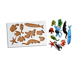 Kidken Montessori Insert Board Learning Board - Aqua Animals
