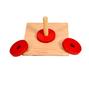 Montessori Toddler Discs on Vertical dowel Stacker Toy