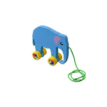 Load image into Gallery viewer, Kidken Pull Along Elephant Wooden Toy