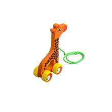 Load image into Gallery viewer, Kidken Pull Along Giraffe Wooden Toy