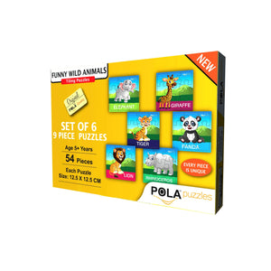 Pola Puzzles Funny Wild Animals, Set of 6 Puzzles, 9 Pieces Tiling Puzzles