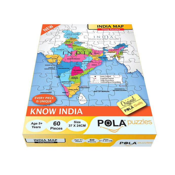 Pola Puzzles India Map 60 Pieces Tiling Puzzles