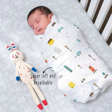 "Load image into Gallery viewer, Buy Rabitat Bamboo Swaddle Wrapper Soft 47""x47"" (City Lights) - GiftWaley.com"