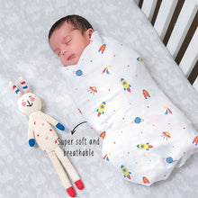 "Load image into Gallery viewer, Buy Rabitat Bamboo Swaddle Wrapper Soft 47""x47"" (Space - Rocket) - GiftWaley.com"