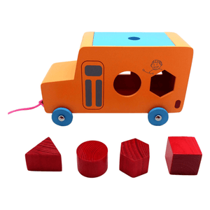 Buy Skola Pull Along Bus Wooden Toy- GiftWaley.com