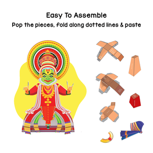 Toiing 3D DIY Paper Craft Kit - Craftoi Kathakali, Teach Kids About Festivals