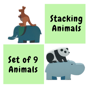 Wufiy Forest Safari - 9 Wooden Animals Stacking Toy