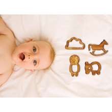 Load image into Gallery viewer, Wufiy Horse, Bear, Baby & Cloud Shape Neem Teethers Glazed With Virgin Coconut Oil