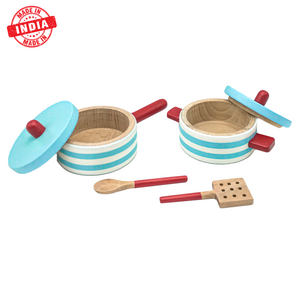 Wufiy Wooden Pot & Pan With 2 Spoons Pretend Play Toy