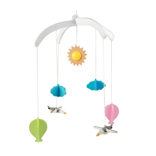 Buy Ariro Hot Air Balloon and seagulls Wooden Mobile Toy - GiftWaley.com