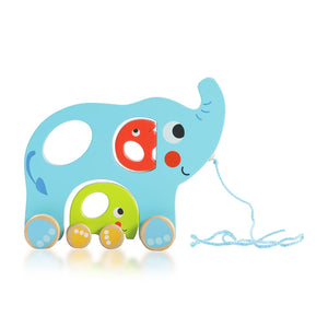 Buy Bloomy Brain Elephant Family Pull Along Wooden Toy - GiftWaley.com