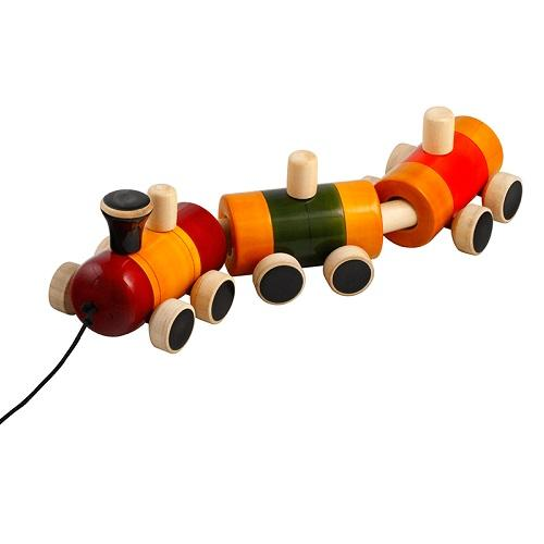 Buy Fairkraft Colouful Wooden Pull Train Toy - Pom Pom Rail - GiftWaley.com