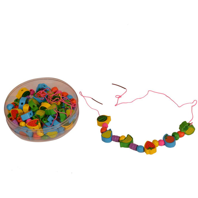Buy Kidken Fruits Threading Beads Wooden Toys - GiftWaley.com