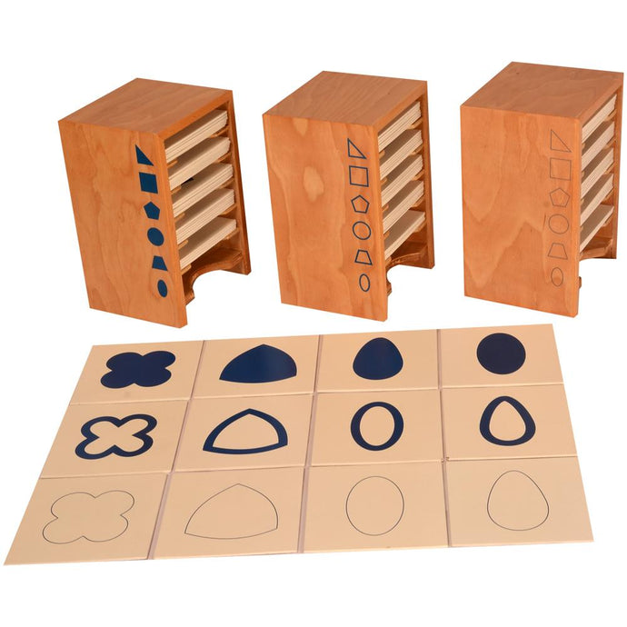 Buy Kidken Montessori Geometrical Form Cards with Cabinet Learning Set - GiftWaley.com