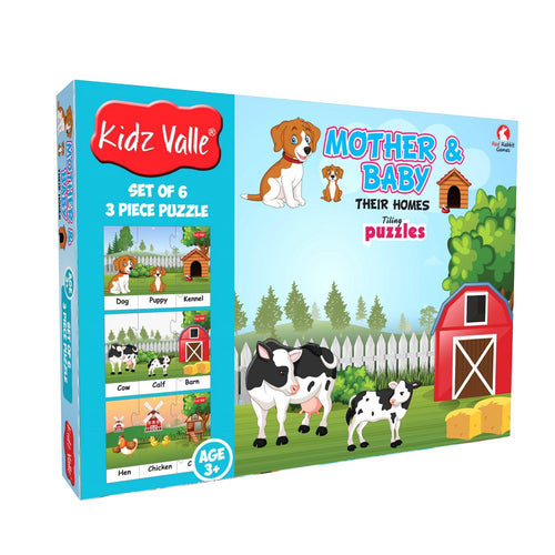 Buy Kidz Valle Baby & Mother Their Homes - 6 x 3 Pieces Puzzle Game - GiftWaley.com