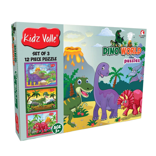 Buy Kidz Valle Dino World 3 X 12 Pieces Puzzles Game - GiftWaley.com