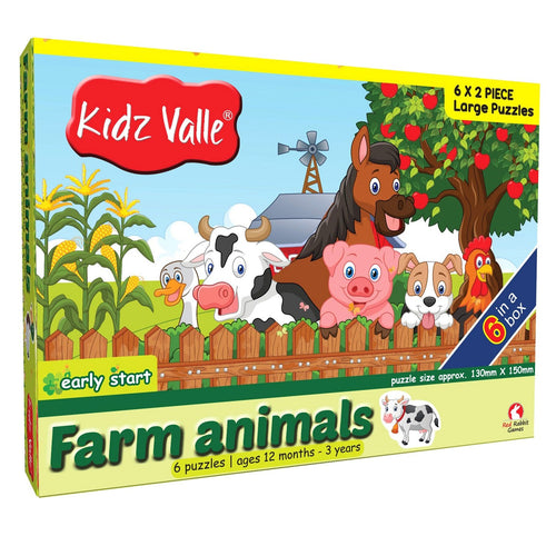 Buy Kidz Valle Farm Animal 6 X 2 Pieces Puzzle Game - GiftWaley.com