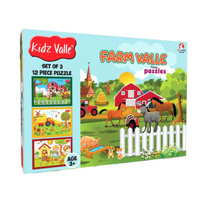 Buy Kidz Valle Farm Valle 3 X 12 Pieces Puzzles Game - GiftWaley.com