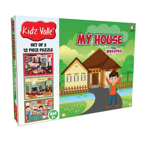 Buy Kidz Valle My House 3 X 12 Pieces Puzzles Game - GiftWaley.com