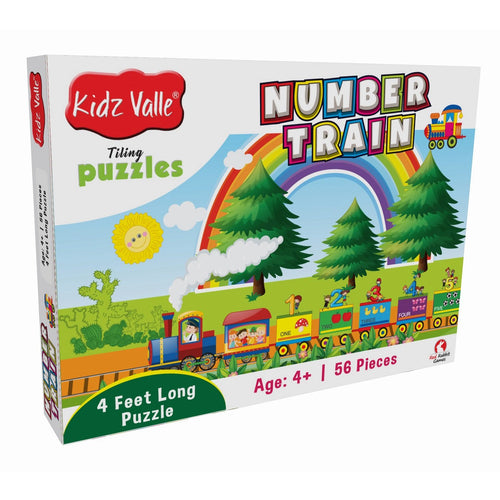 Buy Kidz Valle Number Train 4 Feet Long 56 Piece Tiling Puzzles Game - GiftWaley.com