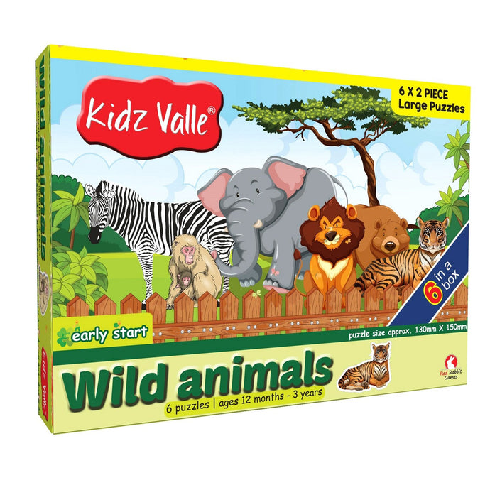 Buy Kidz Valle Wild Animals 6 X 2 Pieces Puzzle Game - GiftWaley.com