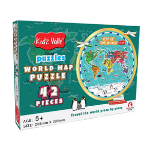 Buy Kidz Valle World Map 42 Piece Tiling Circular Puzzle Game - GiftWaley.com