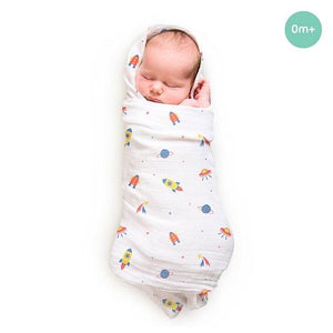 "Buy Rabitat Bamboo Swaddle Wrapper Soft 47""x47"" (Space - Rocket) - GiftWaley.com"