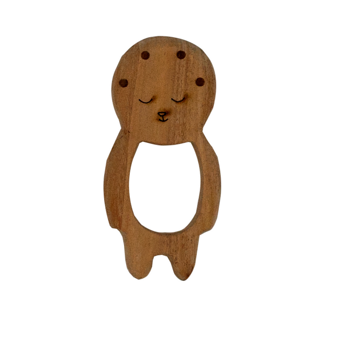 Buy Wufiy Baby Shape Neem Wood Teether Glazed With Virgin Coconut Oil - GiftWaley.com