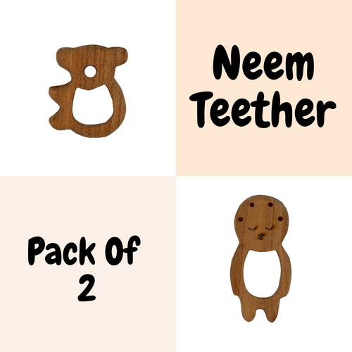 Buy Wufiy Bear & Baby Shape Neem Wood Teethers Glazed With Virgin Coconut Oil - GiftWaley.com