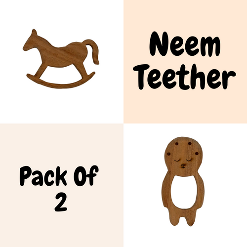Buy Wufiy Horse & Baby Shape Neem Wood Teethers Glazed With Virgin Coconut Oil + Cotton Bag - GiftWaley.com