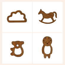 Load image into Gallery viewer, Buy Wufiy Horse, Bear, Baby & Cloud Shape Neem Teethers Glazed With Virgin Coconut Oil - GiftWaley.com