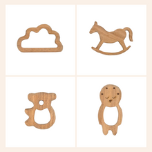 Load image into Gallery viewer, Buy Wufiy Horse, Bear, Baby & Cloud Shape Neem Wood Teethers - GiftWaley.com