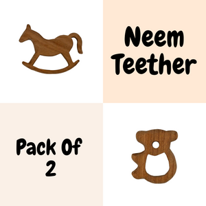 Buy Wufiy Horse & Bear Shape Neem Wood Teethers Glazed With Virgin Coconut Oil & Cotton Bag - GiftWaley.com